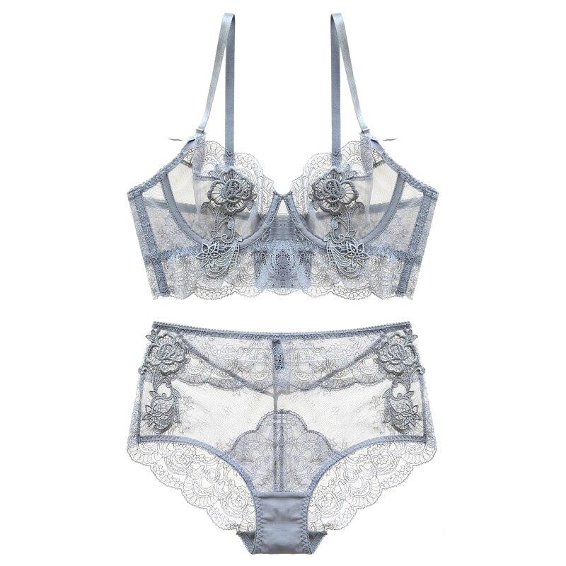 Nuevo reunir ajustado Copa fina Lencería Bra conjunto ropa interior transparente tentación Sexy Bra Conjunto para las mujeres de cintura alta sujetador y conjunto breve