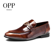 OPP 2017 Men's Patent Leather Dress Shoes New Fashion Style Classic Low Dress Shoes Natural Leather Shoes for Mens Derby Shoes
