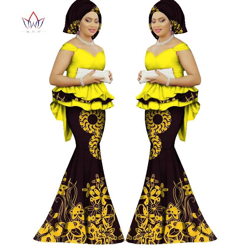 2017 Spring skirt set african direka pakaian tradisional bazin cetak - Pakaian kebangsaan - Foto 4