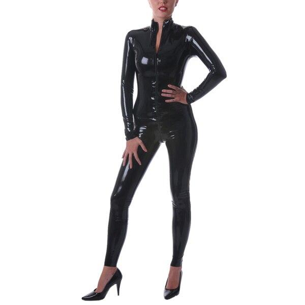 Классическая латекса комбинезон черный латекс боди костюм на молнии спереди 0.4 мм Толщина