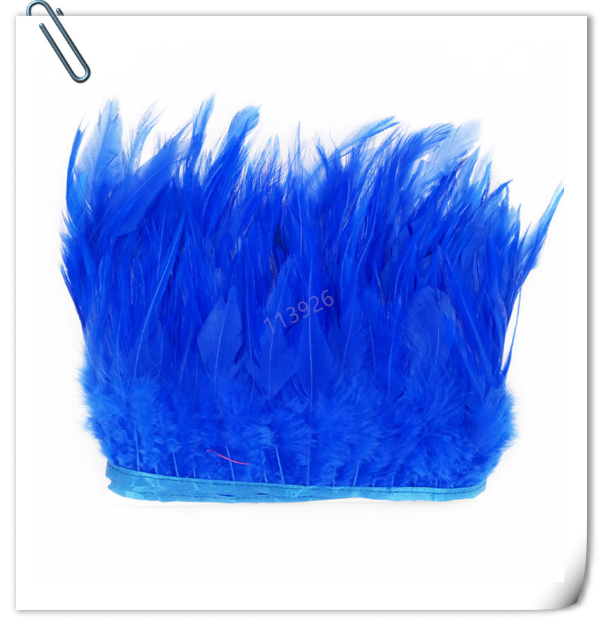 Royal Blue Natural Rooster Tail Feathers Fringe Trim