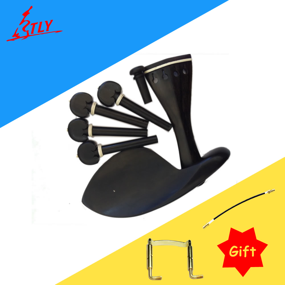 High Quality One Set of Ox Bone Inlayed Ebony Violin Chin Rest Drawplates Tailpiece and Pegs