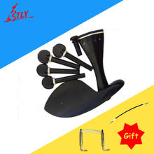 High Quality One Set of Ox Bone Inlayed Ebony Violin Chin Rest Drawplates Tailpiece and Pegs Violin Accessories 4/4