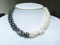 free shipping >necklace 3 strands white black freshwater pearl rice beads twisted