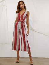 Summer Bohemian Jumpsuits for Women Sleeveless with Adjustable Belt Ankle-length Loose Casual Striped Jumpsuit 81865