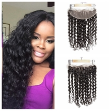 New Arrival Indian Deep Wave Lace Frontal Closure Indian Virgin Hair Full Frontal With Baby Hair 13*4 Closure 1# Jet Black