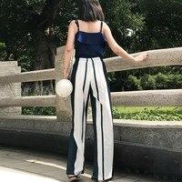 Pantalones rayas verticales cintura alta bota ancha 3