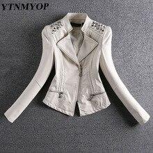 YTNMYOP, новая весенняя и осенняя кожаная куртка, женская тонкая мотоциклетная кожаная куртка с заклепками, женское короткое замшевое пальто размера плюс 3XL