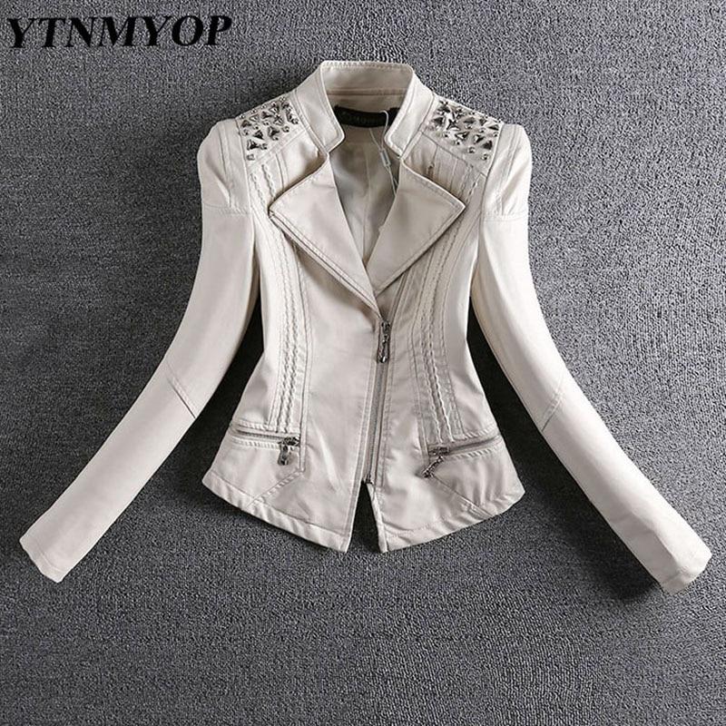 YTNMYOP 2019 New Spring And Autumn Leather Jacket Women Slim Rivet Motorcycle Leather Coat Feminino Short Suede Plus Size 3XL