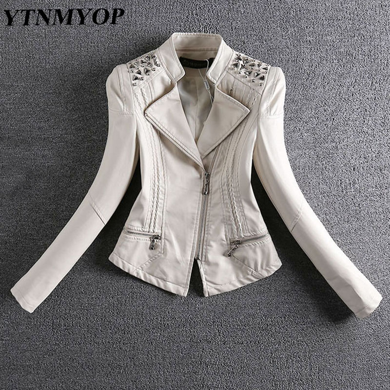 YTNMYOP 2019 New Spring And Autumn   Leather   Jacket Women Slim Rivet Motorcycle   Leather   Coat Feminino Short   Suede   Plus Size 3XL