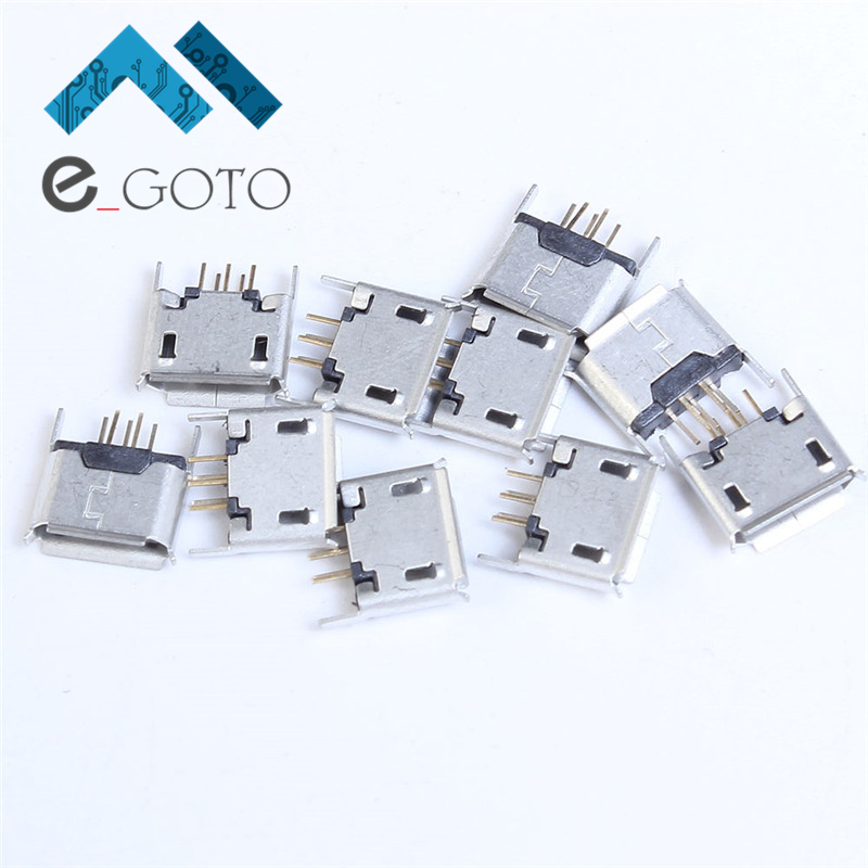 50pcs Mini Vertical Micro USB 5P 5pin Female Seat 180 Degree DIP Direct Plug In USB