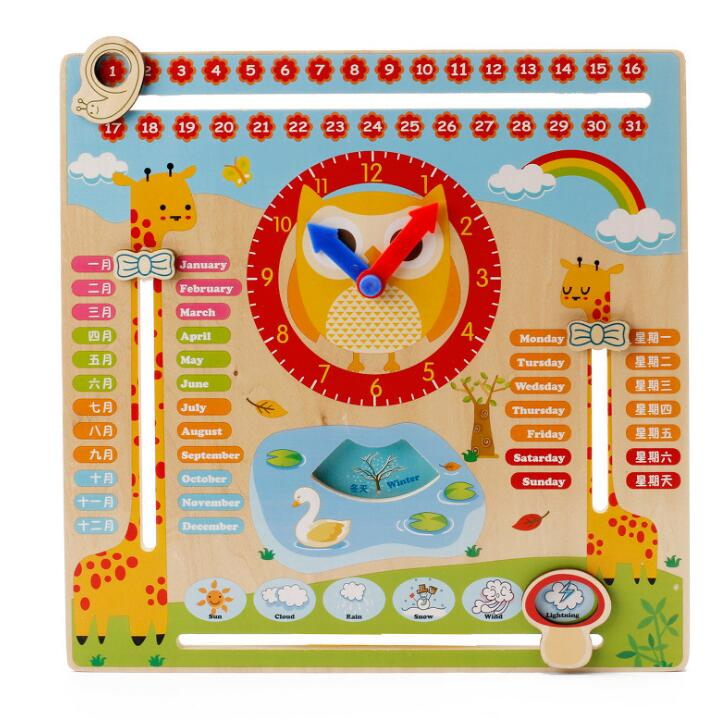 Montessori Teaching Aids Wooden Multi-function Calendar Clock Cognitive Toy Learning Pre ...