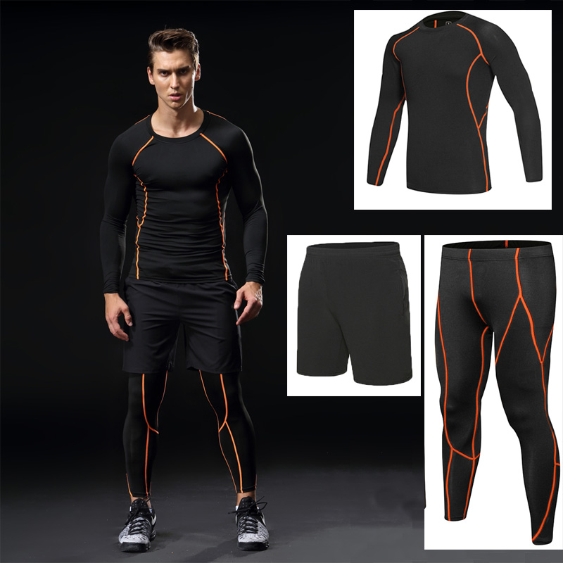 Men Gym running sets compression, Gym Fitness tight sets sportswear boy sport basketball jerseys training suits 3pcs kits lefan 2018 sport suits 3pcs men elastic running fitness sets male training sportswear clothes set gym tracksuits tight leggings