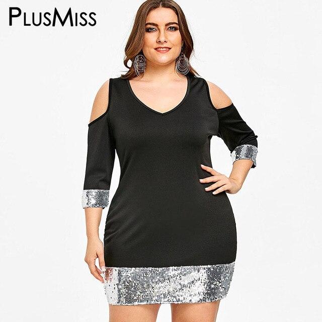 Aliexpress Buy Plusmiss Plus Size 5xl Sexy Sequin Bodycon Club