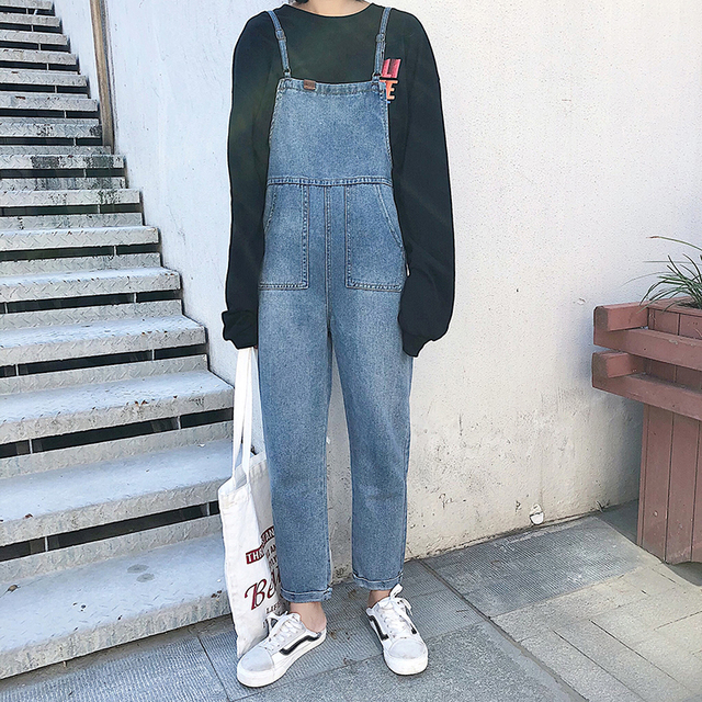 1b4626e250b27 US $32.68 |Women Denim Pants Overalls Jeans Rompers 2019 Spring Summer  Fashion Casual Female Solid Vintage Loose Denim Harem Pant Trousers on ...