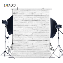 Laeacco Photophone For Food White Brick Wall Vintage Baby Portrait Photography Backdrops Photo Backgrounds Birthday Photocall