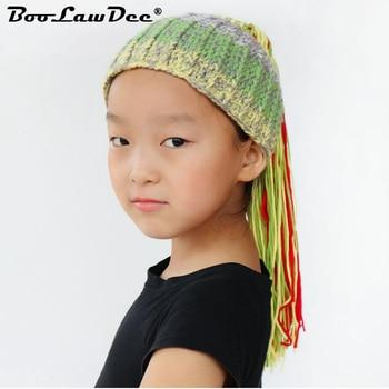 BooLawDee Winter children knit Jamaica wig beanie handmade crochet hat elastic patchwork retro Nepal style warm cap M013