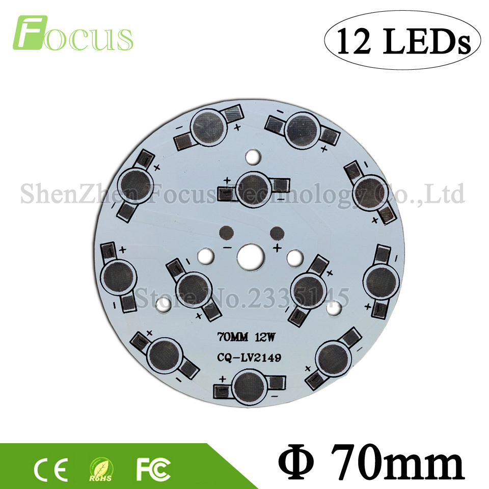 1W 3W 5W Aluminum Plate Round 70mm LED High Power PCB Heat Sink Plate Board DIY 12W / 36W LED Bulb For 1 3 5 Watt Light Beads