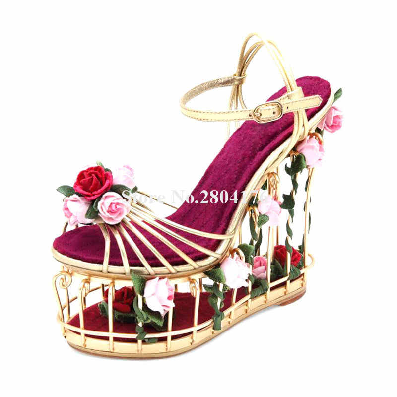 Ladies Luxury Metal Plating Rose Gold Caged Flowers High Platform Wedge Sandals Cut-out Bottom Ankle Strap Wedge Sandals