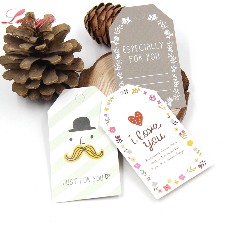 New 50PCS/Lot Paper Tags With String DIY Craft Label Luggage Party Favor Wedding Party Note Hang Tag Gift Wrapping Supplies
