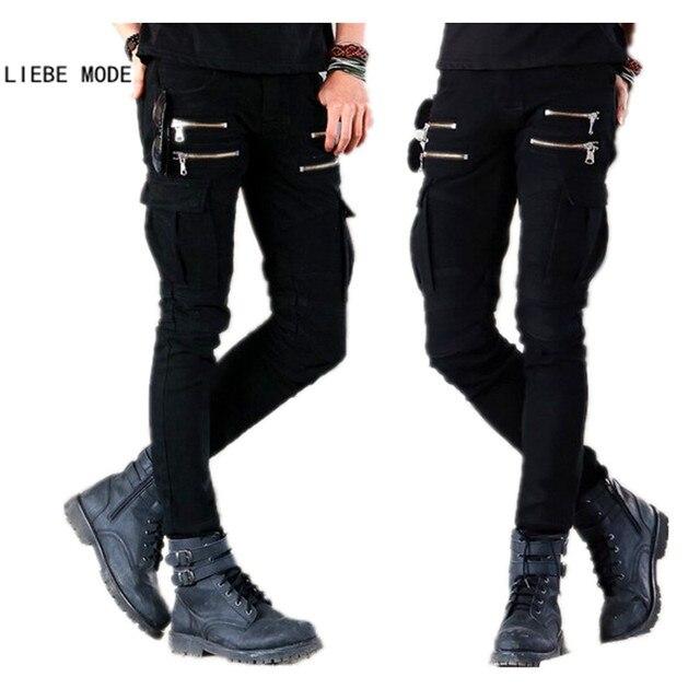Men s Punk Rock Skinny Cargo Pocket Jeans Pants Men Black Denim Biker Jeans  With Zipper Side Pocket Men Pencil Pants 8e10fcea6