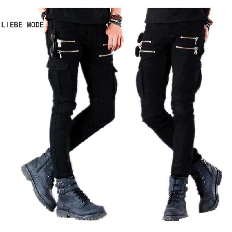 Мужские s панк Рок обтягивающие накладной карман джинсы, мужские брюки черные джинсовые байкерские джинсы с молнией боковой карман мужские брюки-карандаш