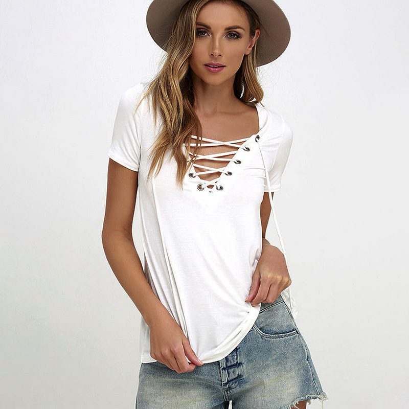Women T Shirt Summer Sexy V Collar Pure Color T-shirt Solid Short Sleeve  Femme Elegant Casual Tee
