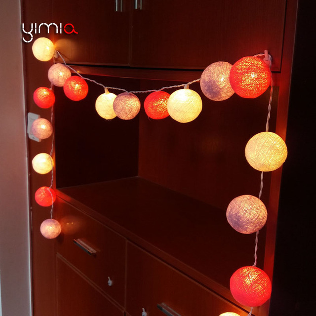 YIMIA 20/35 Cotton Balls LED Garland String Lights Battery Powered Led Christmas Lights Outdoor & YIMIA 20/35 Cotton Balls LED Garland String Lights Battery Powered ...