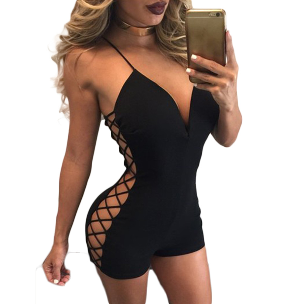 2017 New Low-cut Harness Siamese Pants Female Mesh Hollow Sexy Back Piece Shorts Bodycon Skinny Sexy Club Sleeveless For Ladies