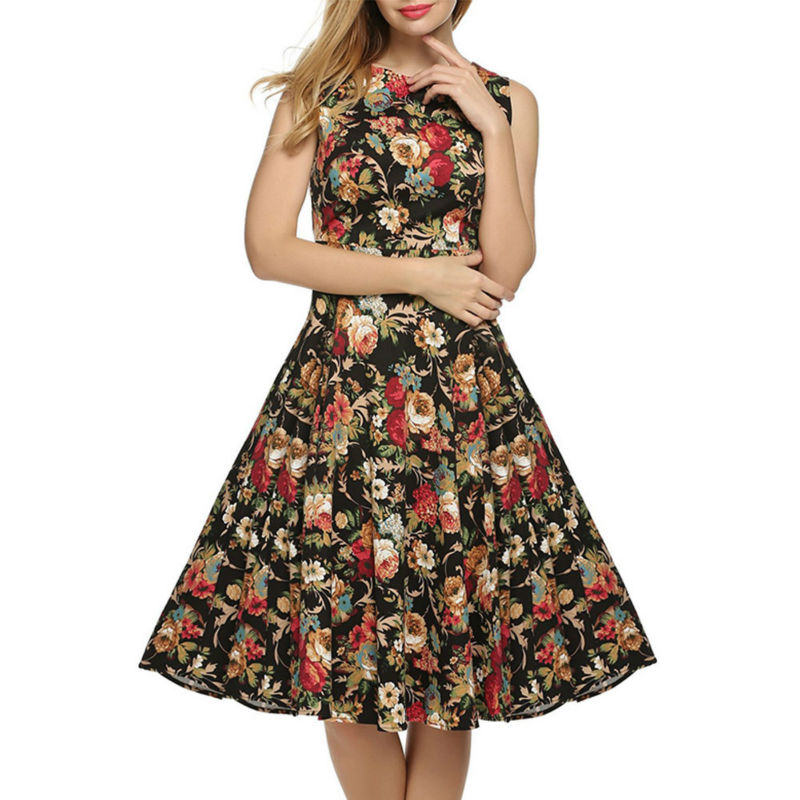 Free Shipping Summer Sexy Floral Printed Dress Women Party Elegant Casual A Line Dress
