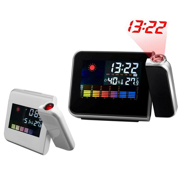Digital Snooze Alarm Clock Wall Projection LED Projector Time Temp Humidity Weather Displays Wake Up With Colorful LED Backlit