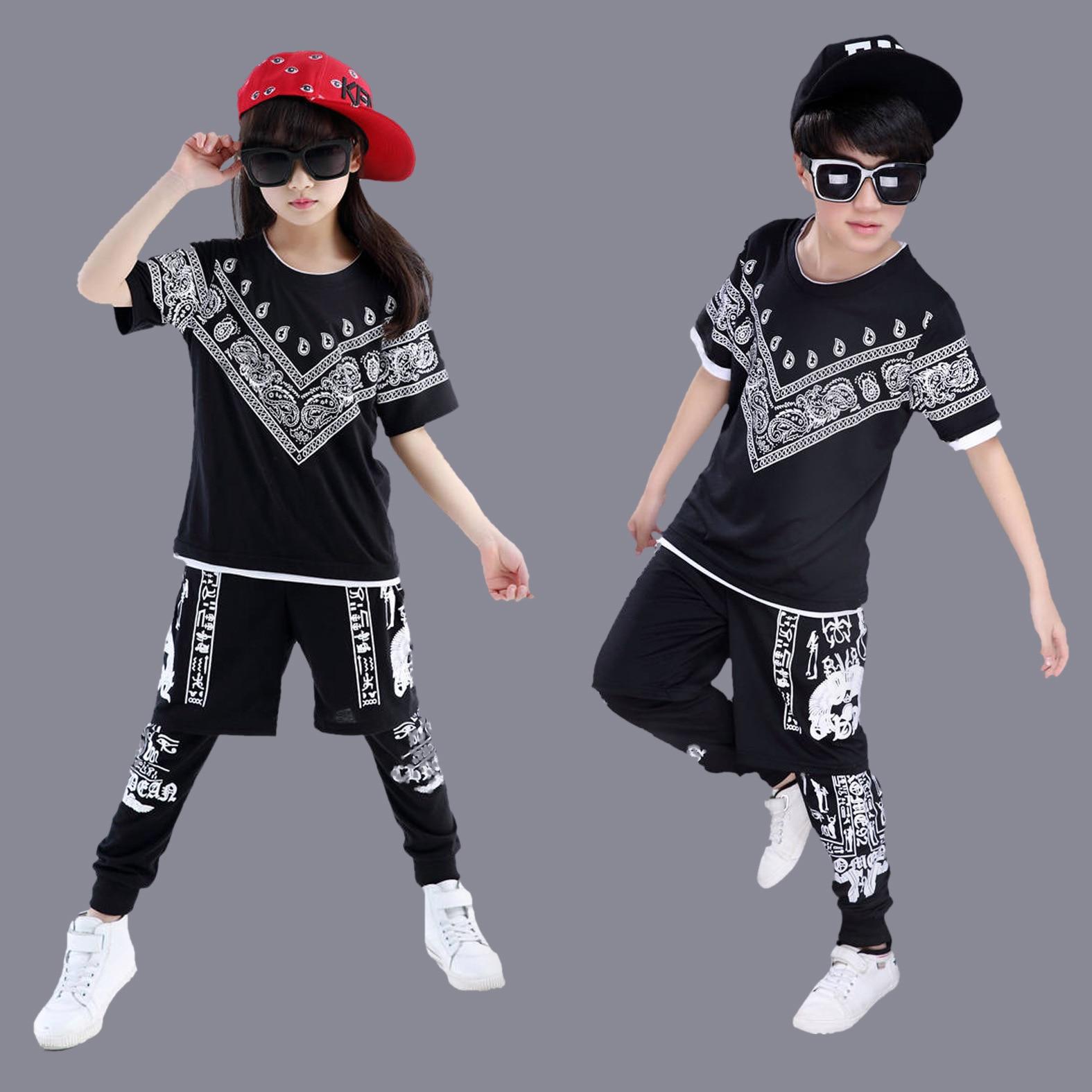 Black Print Hip Hop Dance Clothes For Teens Boys Gilrs ...
