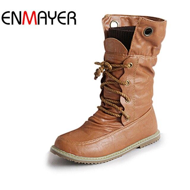 ENMAYER Moda Motosiklet Martin Çizmeler Kadınlar için Kış Kar Botları PU Deri Daireler Boots Ayakkabı Artı Boyutu 43 Ayakkabı Kadın çizmeler