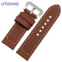 Hot Sale 20 22 24 26mm Scrub Genuine Leather Watchbands Traditional Pin Button Yellow Brown Watch