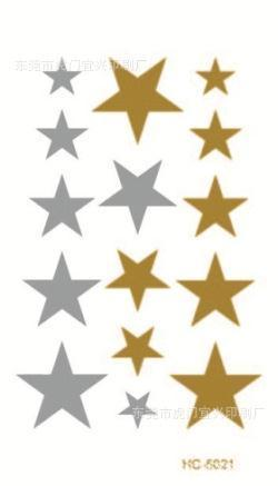 Silver Gold Hot Stamping Star Flash Tattoo Temporary Stickers Waterproof Tattoos VH0021