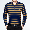 Men Summer Long Sleeve Striped Soft Polo Shirt Large Size Cotton Turn-down Collar Working Clothing Slim Fit Camisa Tipo Polo 3XL