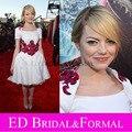 Эмма стоун платье белого аппликация колен атласная знаменитости платье короткое платье выпускного вечера ну вечеринку платье