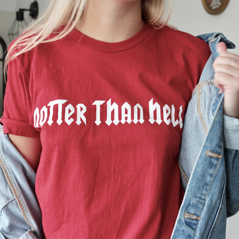 Hotter Than Hell T-Shirt WomenS Vintage 70S Inspired T-Shirt Funny Graphic Tee Summer Cotton Short Sleeve Tops ...
