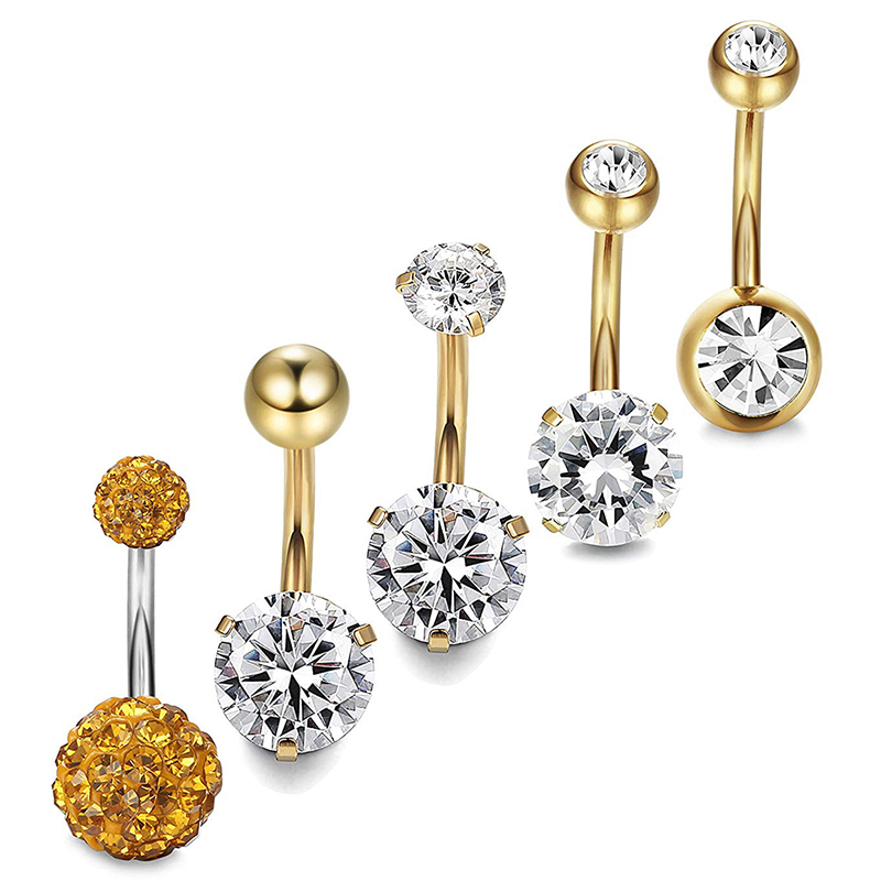 5Pcs/set New Crystal Belly Button Rings Belly Bar Navel Piercing Jewelry Hot Summer Women Jewelry Navel Piercing Belly