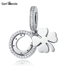 Authentic 925 Sterling Silver Bead Charm Lucky Day Clover Crystal CZ Pendant Charms Fit Pandora Bracelets & Bangles Diy Jewelry