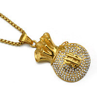 2916e14913ee Hip Hop 316L Stainless Steel Dollar Sign Gold Money Purse Wallet Chain  Bling Rhinestones Jewelry Gift