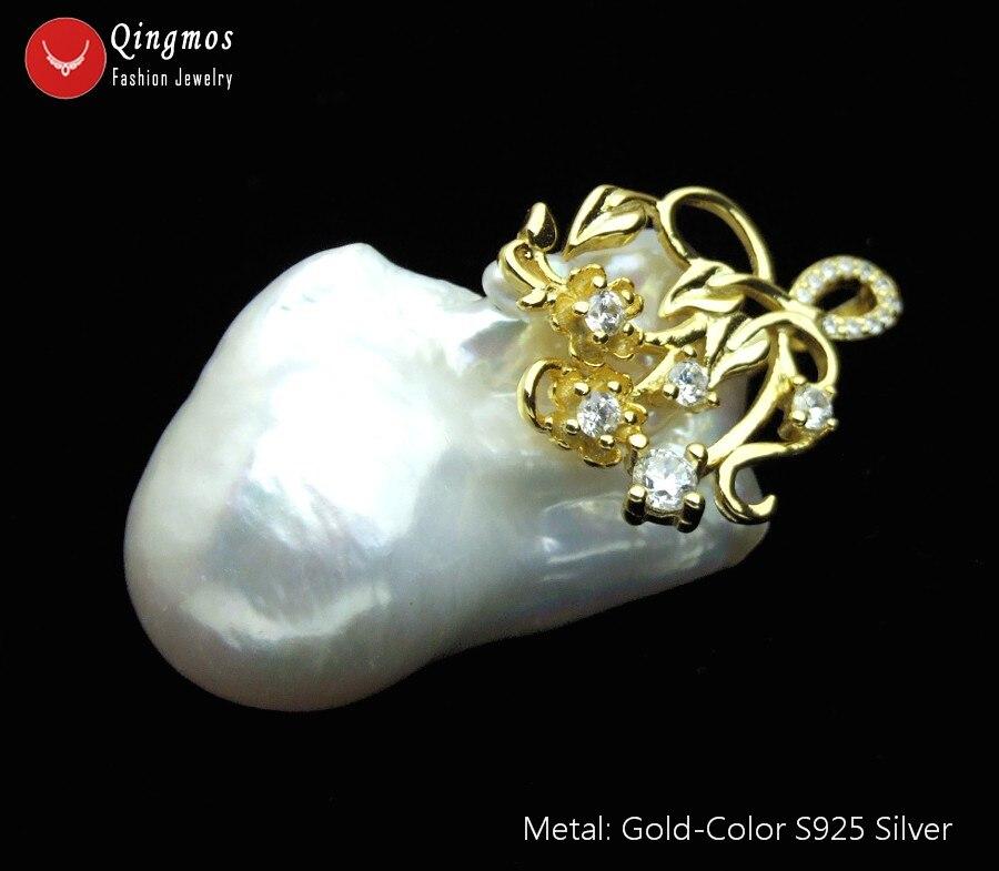 """Qingmos naturalny biały perła wisiorek naszyjnik dla kobiet i 20*35mm barokowy jądrowej naszyjnik z pereł biżuteria Chokers 17 """"łańcuch p96 w Naszyjnik z wisiorkiem od Biżuteria i akcesoria na  Grupa 1"""