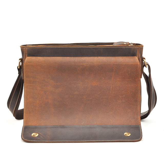 Men's Briefcase Shoulder Messenger Bag Genuine Leather Handbag Laptop Briefcases Retro Flap Buckle Business Crazy Horse Leather