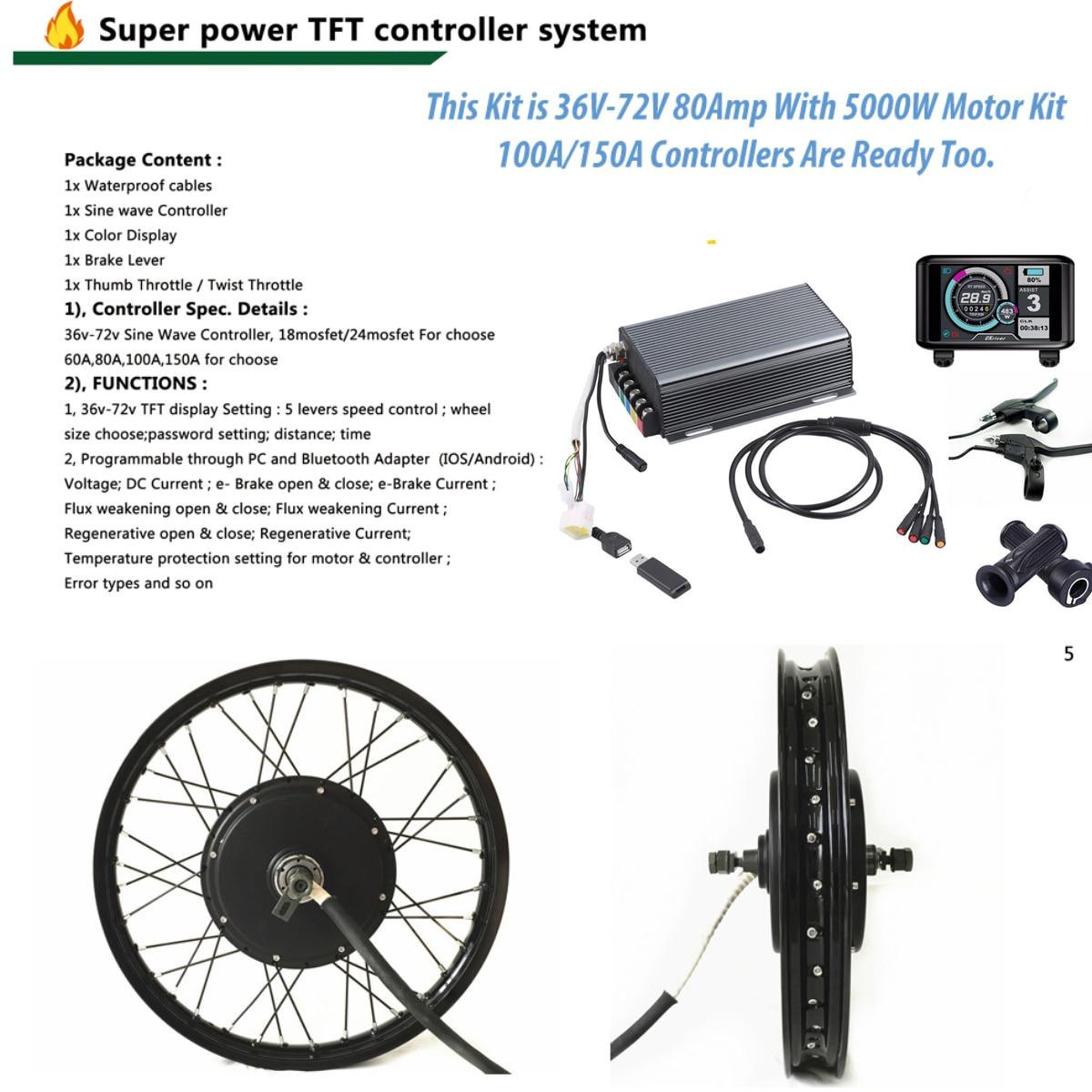 TFT Display 48v -72v 5000w electric bike kit 5kw e bike conversion kit with 16 17 18 19 24 26