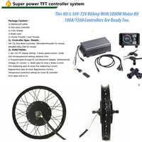 "TFT Display 48v -72v 5000w electric bike kit 5kw e bike conversion kit with 16"" 17"" 18"" 19"" 24"" 26"""