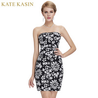 Kate Kasin Black Short Cocktail Dresses 2017 Summer Straight Knee Length Floral Print Prom Dress Robe