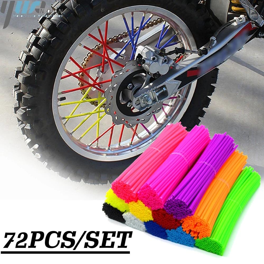 Nosii 72pcs Wheel Spoke Wraps Kit Motocross Wheel Rims Spoke Shrouds Skins Covers Motorcycle Bike Guard Protector Color : Orange