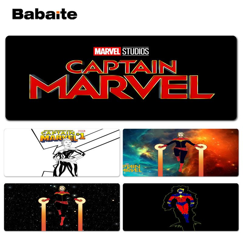 Babaite Cool New Captain Marvel DIY Design Pattern Game Lockedge mousepad Size for 30x90cm 40x90cm Speed Mouse Pad
