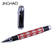 Gift Writing Stationery Duke Silver Clip Rollerball Pen Red White Plaid Fashion Design 0.5mm Black Ink Student Roller Ball Pens