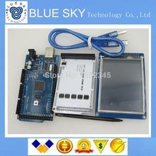 Бесплатная доставка 1 пара = 3 шт. 3.2 «TFT LCD Сенсорный Экран + TFT 3.2 дюймов Щит + Мега 2560 R3 с usb-кабель для Arduino комплекте